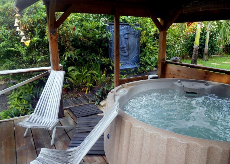 jacuzzi dans un jardin great est enfouie dans un jardin tropical luxuriant with jacuzzi dans un. Black Bedroom Furniture Sets. Home Design Ideas